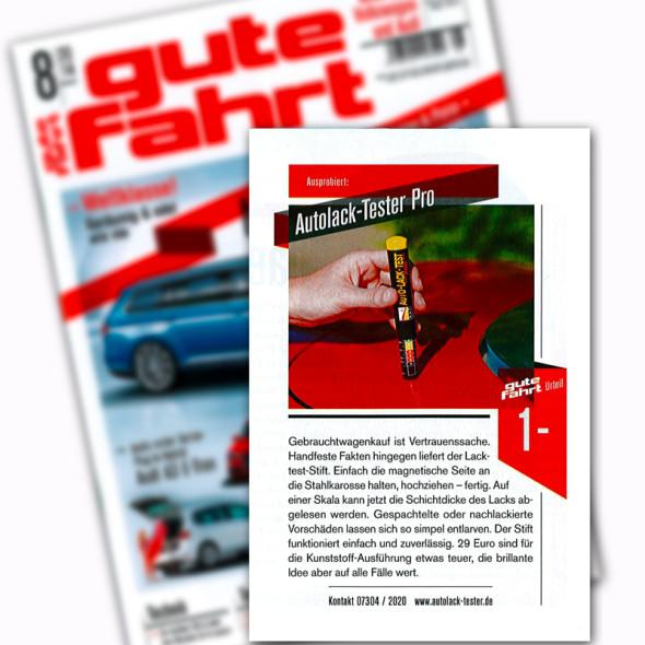 Autolacktester - Autolack-Tester Pro wurde mit Bestnote im Magazin Gute Fahrt getestet